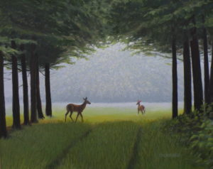 "Amy Bickford ~ ""Doe a Deer' ~ Gouache 16"" x 20"""