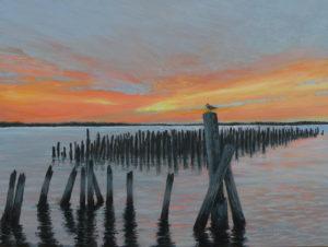 "Amy Bickford ~ 'Portland Harbor' ~ Gouache 12"" x 16"""