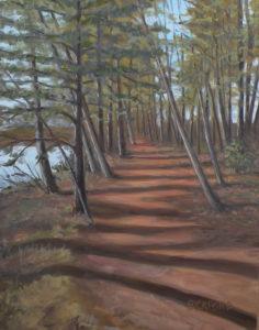"Amy Bickford ~ ""River Walk"" ~ Acrylic Based Gouache on Gesso Board 11"" x 14"""