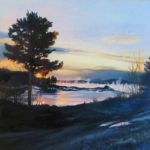 """Patricia Chandler ~ 'Sunrise With Sea Smoke' ~ Oil on Panel 24"""" x 24"""""""