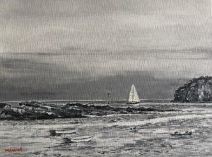 "Wilson Stewart ~ 'Approaching Whitehead"" ~ Acrylic on Canvas Panel 9"" x 12"""