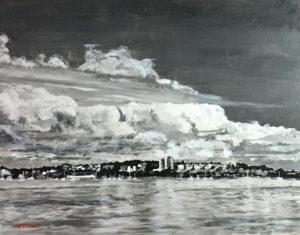 "Wilson Stewart ~ ""Eastern Promenade"" ~ Acrylic on Canvas Panel 5"" x 7"""