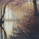 """Amy Bickford ~ """"Silent Woods"""" ~ 16"""" x 20"""" Acrylic Based Gouache on Gesso Board"""