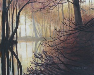 "Amy Bickford ~ ""Silent Woods"" ~ 16"" x 20"" Acrylic Based Gouache on Gesso Board"