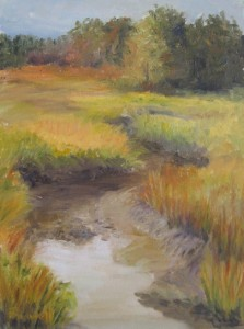"Felicity Sidwell ~ ""Fall Marsh Low Tide"" ~ Oil on Canvas 12"" x 9"""