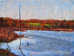 "Bob Santandrea ~ ""Fall Pond"" ~ Pastel on Paper 13"" x 16"""