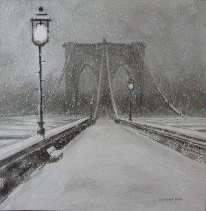 "Any Bickford ~ 'Brooklyn Bridge' ~ Gouache and Ink 11"" x 11"""