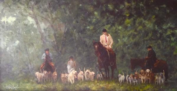 "Rob Anderson ~ ""The Hunt"" ~ Oil Canvas 15"" x 30"""