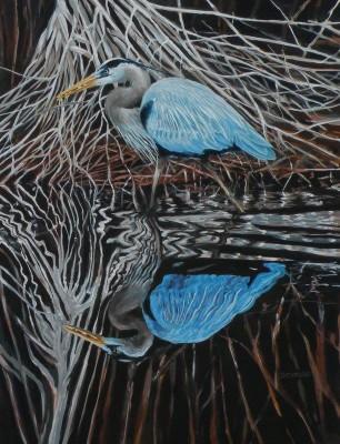 "Amy Bickford ~ ""Blue Heron"" ~ 18"" x 24"" ~ Gouache on Gesso Board"