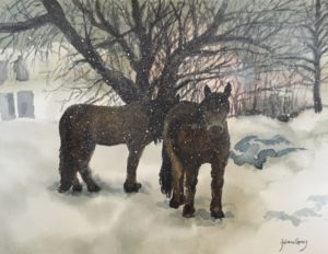 "Julianne Garvey ~ ""Farmhorses in Snow"" ~ Watercolor on Paper"