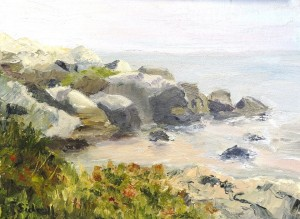 "Felicity Sidwell ~ ""Rocky Shore September"" ~ Oil on Canvas 9"" x 12"""