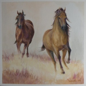 """Amy Bickford ~ """"Running Wild"""" ~ Watercolor on Paper 8.5"""" x 8.5"""""""