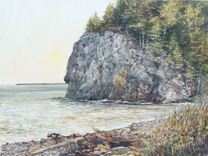 "Jane Herbert ~ ""Owls Head Beach"" ~ Acrylic on Canvas 12"" x 16"""