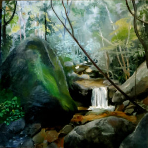 "Pat Chandler ~ 'Waterfall' ~ Oil on Panle 12"" x 12"""