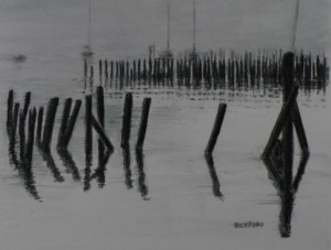 "Amy Bickford ~ ""Portland Pilings"" ~ Watercolor on Paper 8"" x 6"""