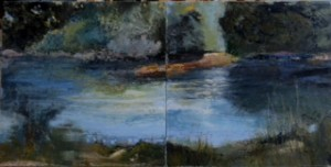 """Pat Chandler ~ """"Morning Stream - Diptych"""" ~ Cold Wax with Oil 18"""" x 36"""""""