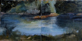"Pat Chandler ~ ""Morning Stream - Diptych"" ~ Cold Wax with Oil 18"" x 36"""