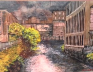 "Julianne Garvey ~ ""Lewiston Mills#2 Night"" ~ Watercolor 11"" x 14'"