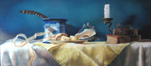 """Pat Chandler ~ 'Diana's Table' ~ Oil on Panel 10"""" x 22"""""""