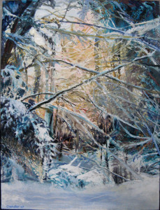 "Pat Chandler ~ 'Winter Clearing I' ~ Mixed Media on Panel 20"" x 24"""