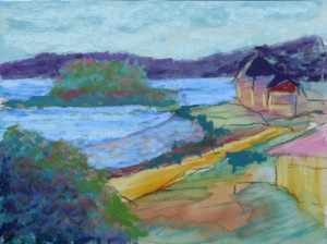 "Bob Santamdrea ~ 'Window View' ~ pastels on Paper 9"" x 12"""