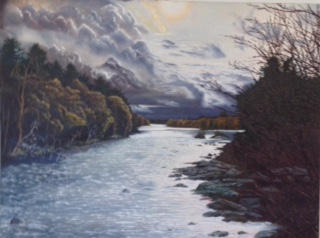"Austin Stilphen ~ 'Saco River' ~ Oil on Canvas 38"" x 48"""