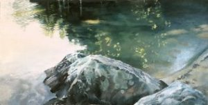 "Pat Chandler ~ 'Late Afternoon Cove"" ~ Oil on Panel 24"" x 48"""