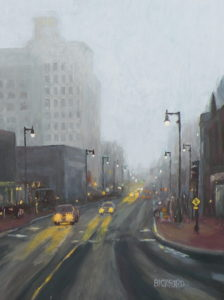 "Amy Bickford ~ 'Rainy Downtown Day' ~ Gouache 16"" x 12"""