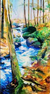 "Patricia Chandler ~ ""Sand Pond Stream II"" ~ Oil on Panel 48"" x 24"""
