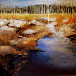 """Patricia Chandler ~ """"Marsh V"""" ~ Oil on Panel 24"""" x 24"""""""