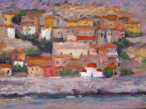 "Bob Santandrea ~ ""Greek Coast-Monemvasia"" ~ Plein Air Pastel 6"" x 8"""