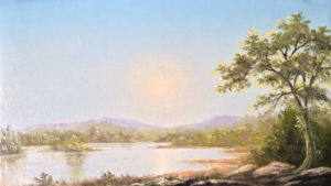 """Austin Stilphen ~ """"On the Saco River"""" ~ Oil on Canvas 7"""" x 12"""""""
