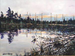 """Julianne Garvey ~ """"Possible Moose Sighting"""" ~ Oil on Canvas 9"""" x 12"""""""