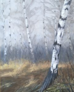 "Amy Bickford ~ :Birches in the Fog"" ~ Gouache on Gesso Board 11"" x 14"""