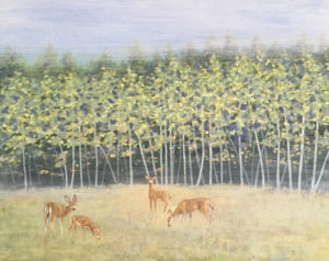 "Amy Bickford ~ ""Grazing Deer"" ~ Gouache on Gesso Board 20"" x 16"""
