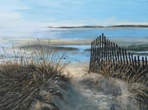 "Amy Bickford ~ ""path to Ferry Beach"" ~ Gouache on Gesso Board 9' x 12'"
