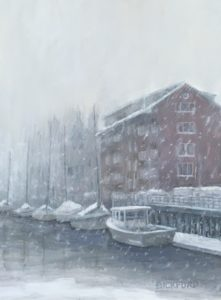 "Amy Bickford ~ ""Snow Squall"" ~ Gouache on Gesso Board 9"" x 12"""
