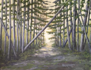 "Amy Bickford ~ ""Estes Road"" ~ Gouache on Gesso Board 18"" x 14"""
