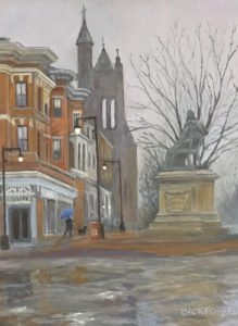 "Amy Bickford ~ "" Longfellow Square"" ~ Gouache on Gesso Board 9"" x 12"""