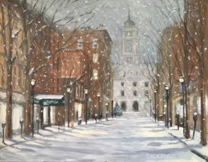 "Amy Bickford ~ ""Winter in the Old Port"" Gouache on Gesso Board 14"" x 11"""