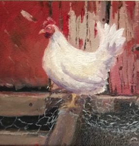 "Carrin Culotta ~ ""Hollis Chicken"" ~ Oil on Panel 6"" x 6"""