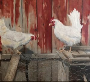 "Carrin Culotta ~ ""Hollis Chickens"" ~ Oil on Panel 16"" x 20"""