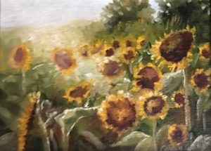 "Carrin Culotta ~ ""Sun and Sunflowers"" ~ Oil on Panel 6"" x 8"""