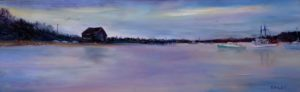 "Kevin Daley ~ ""Dawn at Stage Harbor"" ~ Oil on Canvas 8"" x 24"""