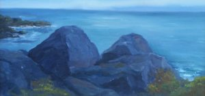 "Kevin Daley ~ ""Near Lobster Cove"" ~ Oil on Canvas 8"" x 16"""