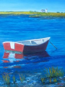 "Kevin Daley ~ ""Red Rowboat at Stage Harbor"" ~ Oil on Canvas 16"" x 20"""