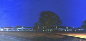 "Roy Perkinson ~ ""Grove in Rail Yard, Twilight"" ~ oil on Canvas 18"" x 36"""