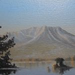 "Austin Stilphen ~ ""Mt. Katahdin from Ambajejus Lake"" ~ Oil on Canvas 4.5"" x 6.5"""