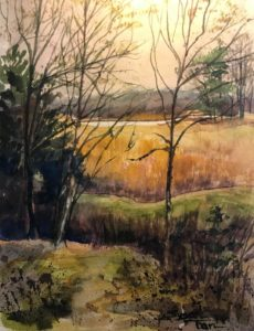 "Susan Tan ~ 'Audubon Field' ~ Watercolor on Paper 14"" x 11"" $300.00"
