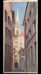 Linda Caron ~ Zurich Alley and Steeple~ Watercolor on Paper